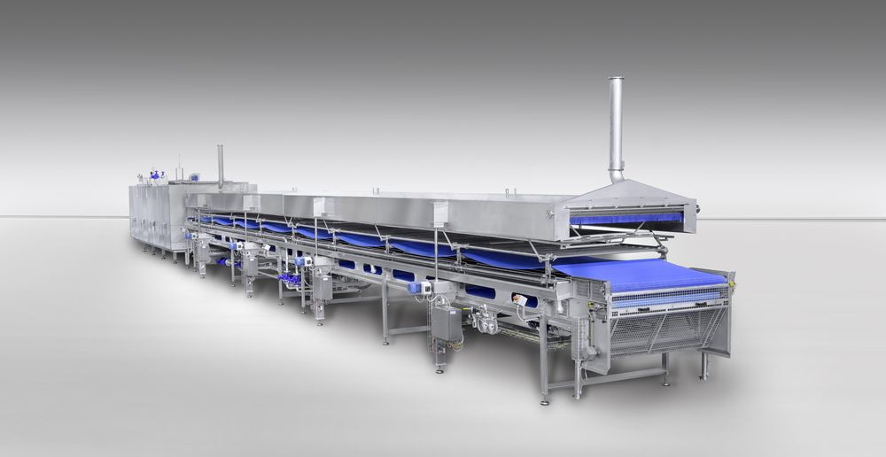 Hich-capacity heat treatment line for fresh filled pasta products, 2400 kg/h (courtesy Pavan Group)