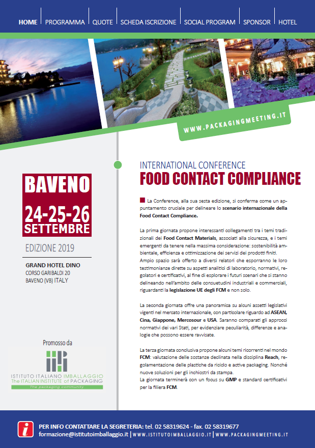 International Conference Food Contact Compliance - Italian Food Tech